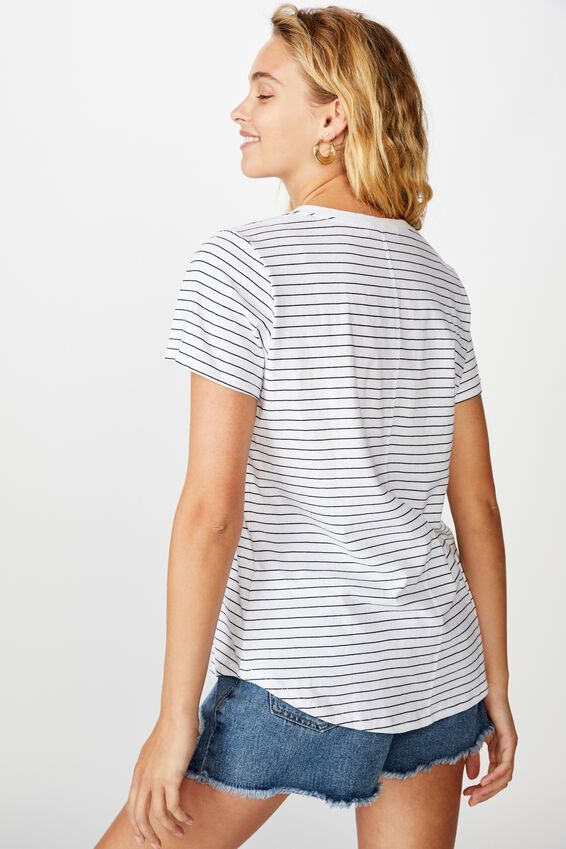 The One Crew Tee, LUCY STRIPE WHITE/BLACK