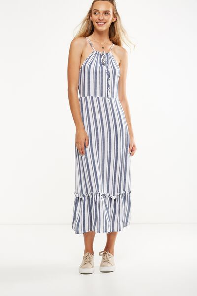 Woven Clover High Neck Maxi Dress, CHLOE TEXTURE STRIPE TOTAL ECLIPSE