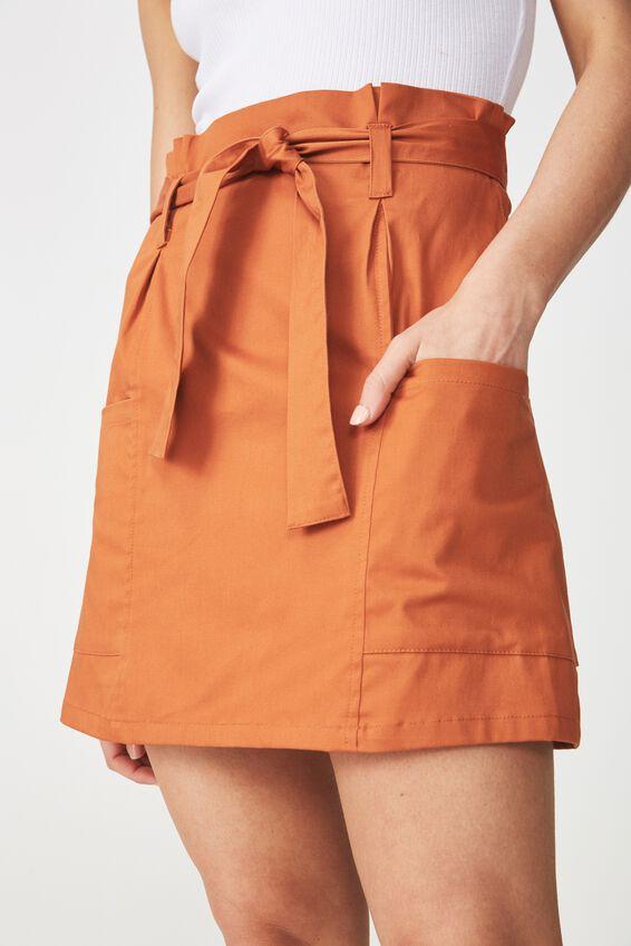 Woven Voss Utility Mini Skirt, UMBER BROWN