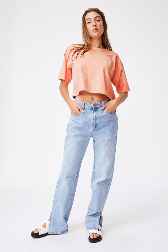 The Slouch Pocket Tee, WASHED PEACH PALM