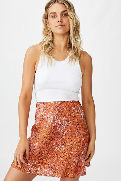 True Bias Mini Skirt, MANDY MULTI DITSY AUTUMN GLAZE