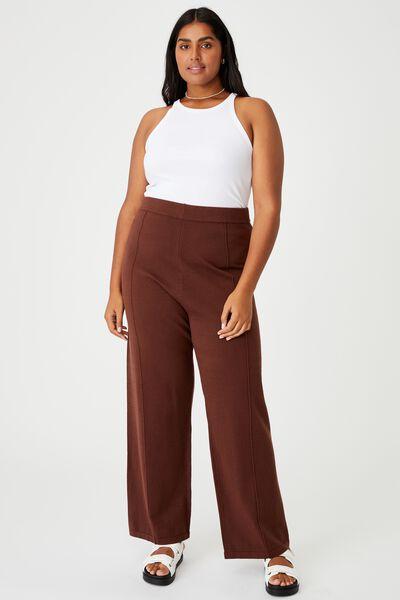 Curve Soft Knit Pant, BROWN