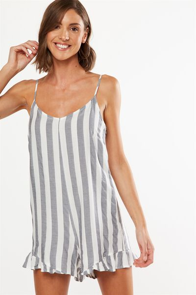 Woven Lily Strappy Frill Playsuit, WHITE/NAVY BLOCK STRIPE