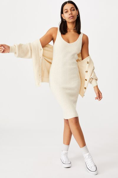Match Me Knit Midi Dress, SEASHELL WHITE