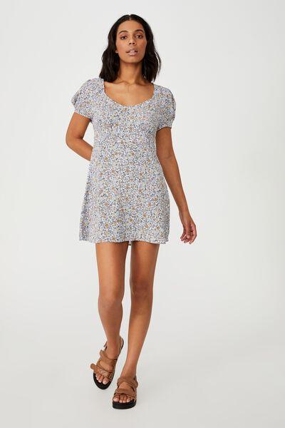 Woven Essential Tie Back Mini Tea Dress, MISHAY DITSY LILAC BLOOM