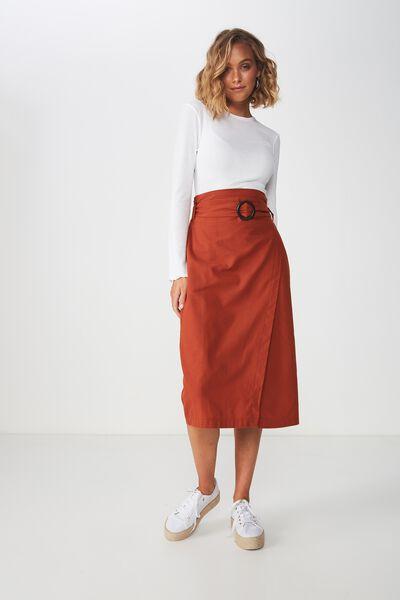 bc4fd08a6a Woven Melanie Wrap Midi Skirt