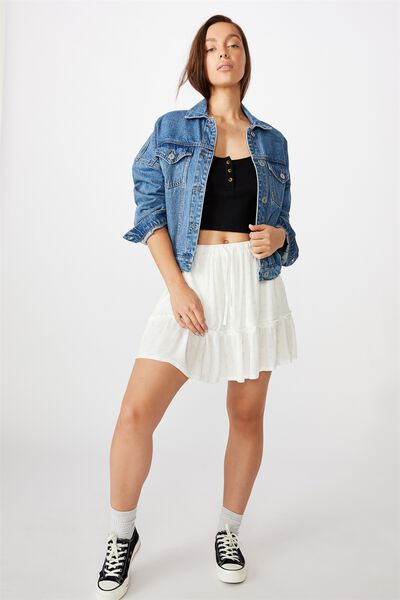Penny Tiered Mini Skirt, IVY TILE WHITE