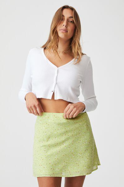 Woven Kaity Slip Mini Skirt, ERIN DITSY MINT CHIP