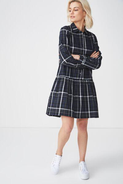 Woven Tammy Long Sleeve Shirt Dress, FRILL HEM SADE CHECK