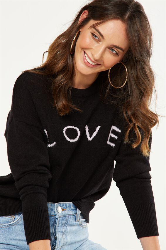Tex Text Knit Pullover, LOVE