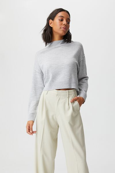 Wool Crew Neck Pullover, GREY MARLE