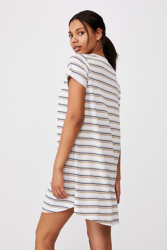 Tina Tshirt Dress 2, ARNA STRIPE WHITE MULTI