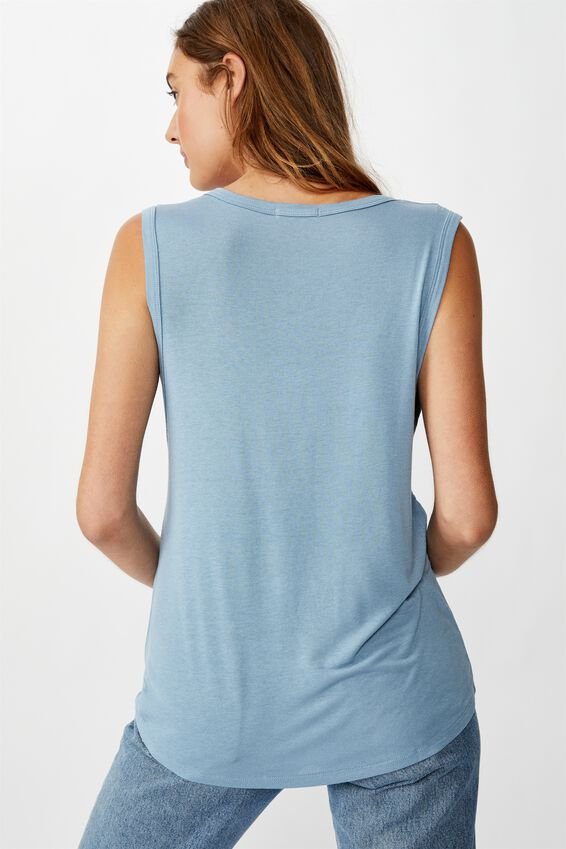 The Parker Scoop Tank, FADED DENIM