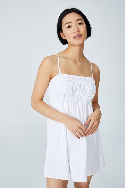 Woven Petite Molly Smock Mini Dress, WHITE
