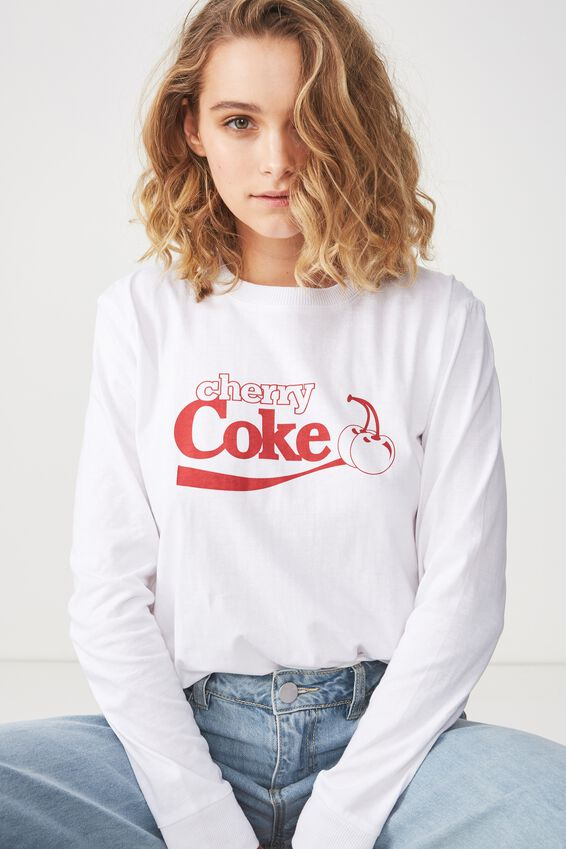 Tbar Tammy Chopped Graphic Long Sleeve Tee, LCN CHERRY COKE/WHITE