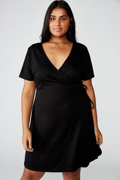 Curve Sasha Short Sleeve Wrap Dress, BLACK