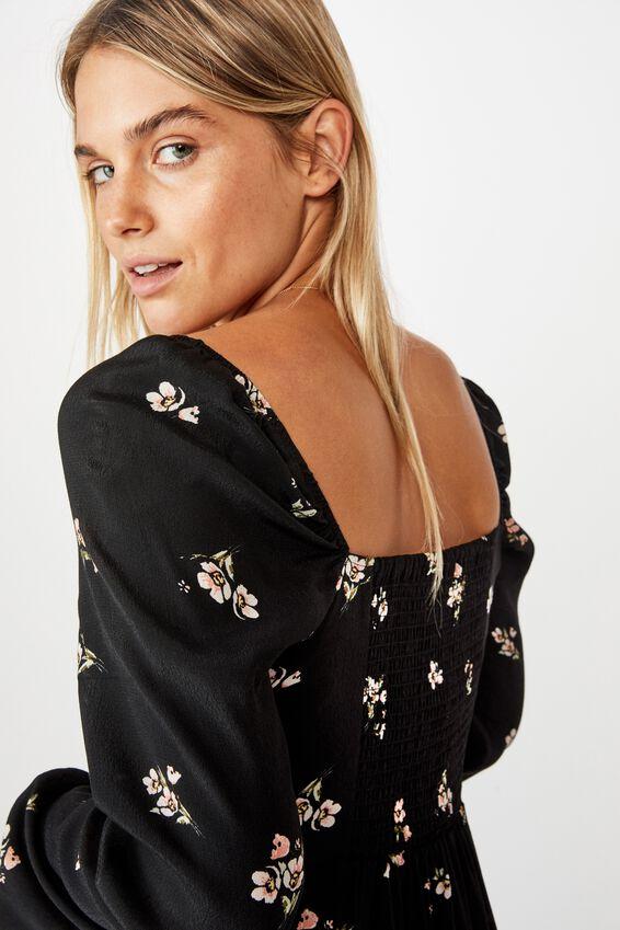 Woven Faye Long Sleeve Split Dress, ARIA FLORAL ROSE MUSK BLACK