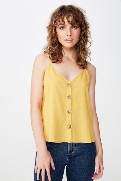 Allie Button Front Cami, BRIGHT GOLD