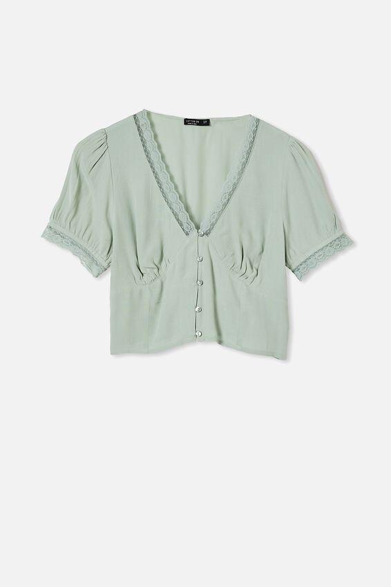 Lace Trim Short Sleeve Blouse - Petite, LUSH GREEN