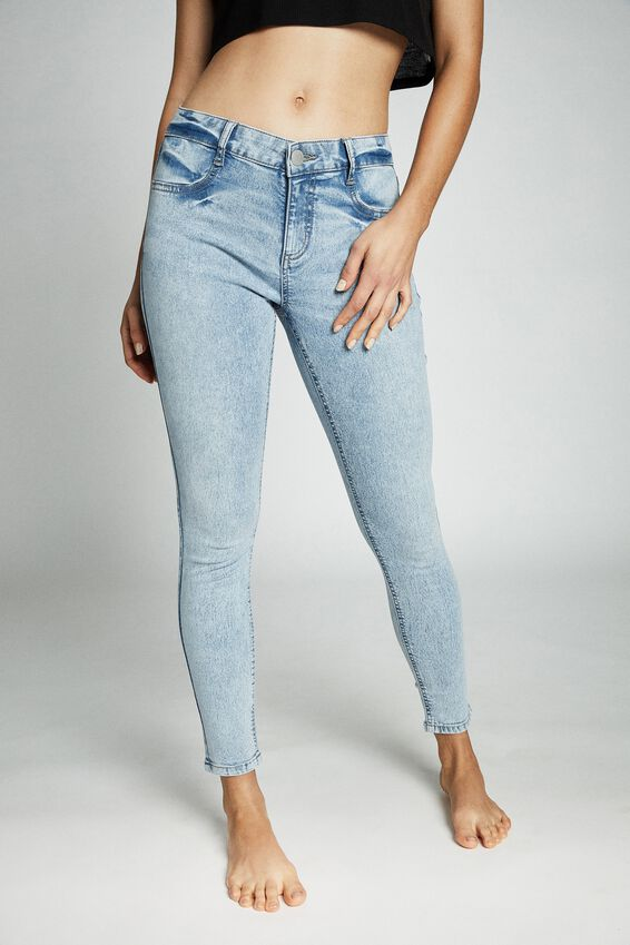 Mid Rise Cropped Skinny Jean, VENICE BLUE RIP
