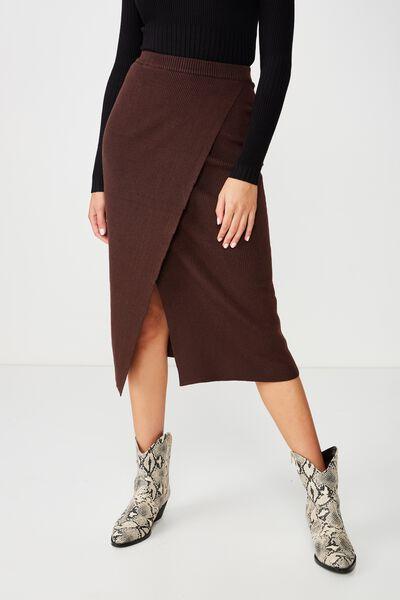 Alexa Wrap Skirt, CHERRY MAHOGANY