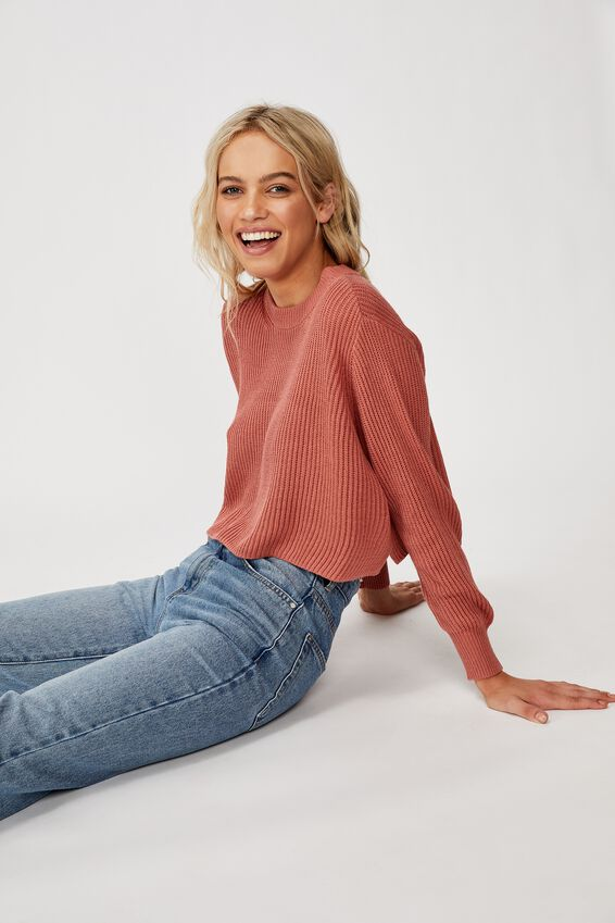 Archy Cropped 2 Pullover, CANYON ROSE