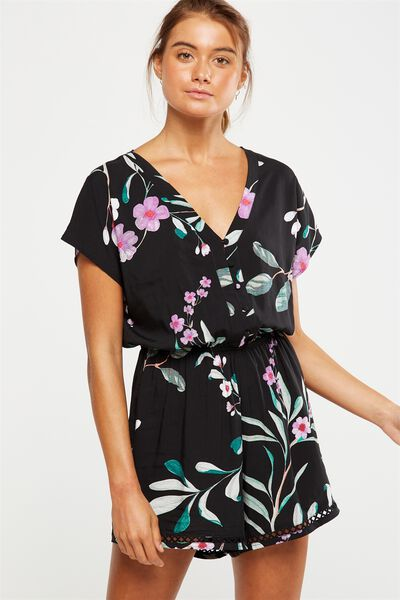 woven harriet short sleeve romper, SOPHIA FLORAL JET BLACK