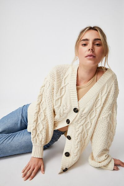 Heritage Chenille Cable Cardi, PASTRY