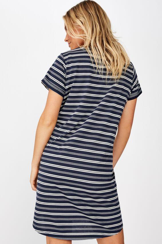 Tina Tshirt Dress 2, MAYA MULTI STRIPE MOOD INDIGO