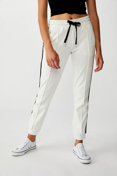 Slim Fit Trackpant, GARDENIA PIN TUCK/BLACK SIDE STRIPE