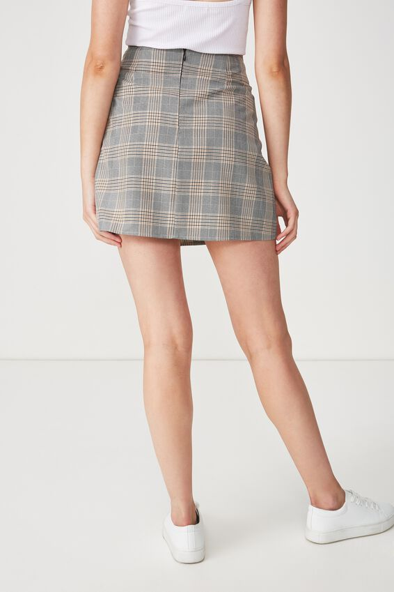Woven Casual Mini Skirt, BLACK/INCA GOLD CHECK