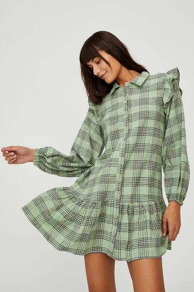 Woven Marnie Long Sleeve Babydoll Mini Shirt Dress, CHARLOTTE CHECK PISTACHIO GREEN