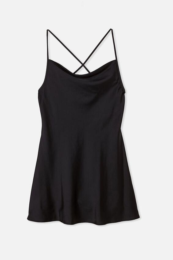 Woven Malia Strappy Mini Dress, BLACK