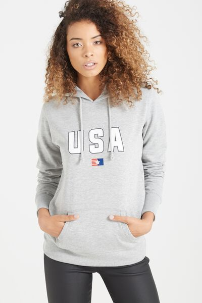 Delevingne Graphic Hoodie, USA CLASSIC/GREY MARLE