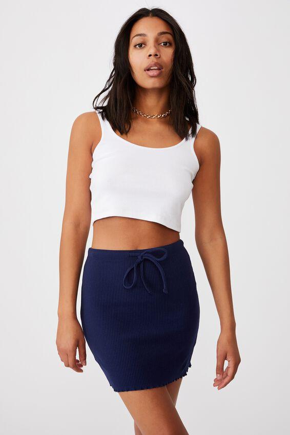 Streamline Ribbed Mini Skirt, NAVY