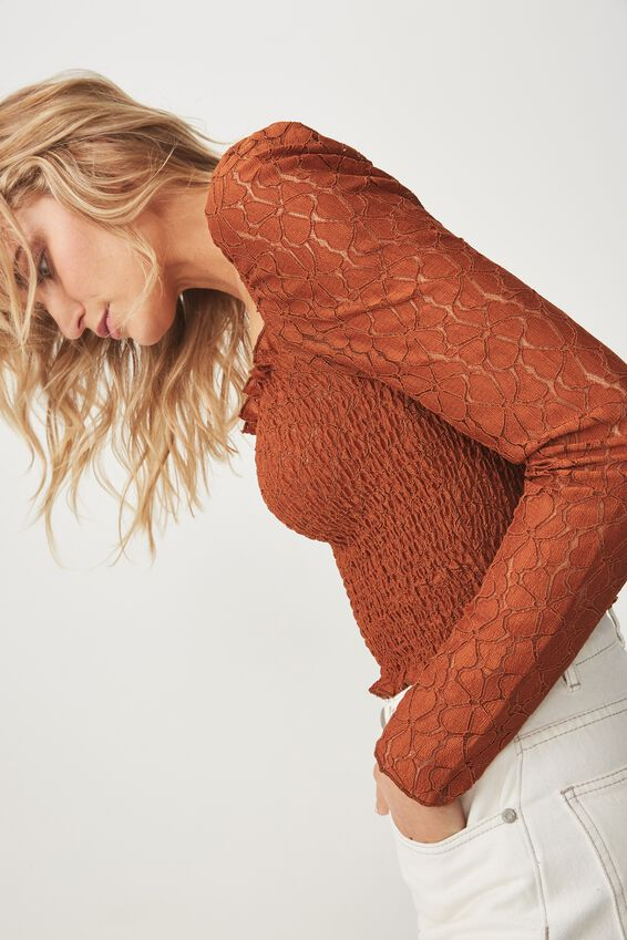 Eden Long Sleeve Lace Top, UMBER BROWN