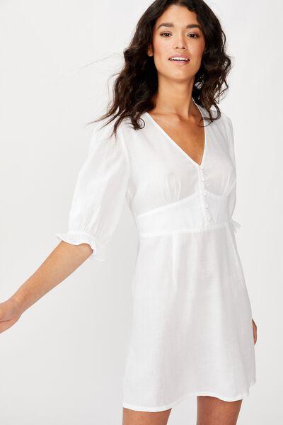 Woven Maddison Mini Dress, WHITE
