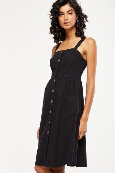 Woven Lottie Midi Dress, BLACK TEXTURE