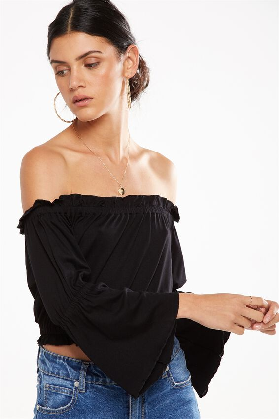 Sofia Off The Shoulder Ruffle Top, BLACK