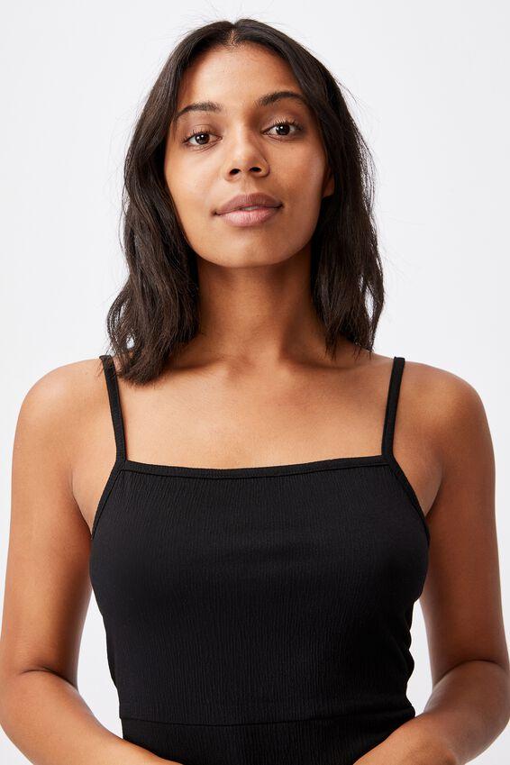 Kaisha Strappy Tie Back Mini Dress, BLACK