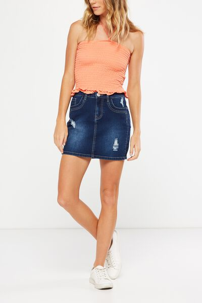 The Mini Stretch Denim Skirt, BLUE RIPS