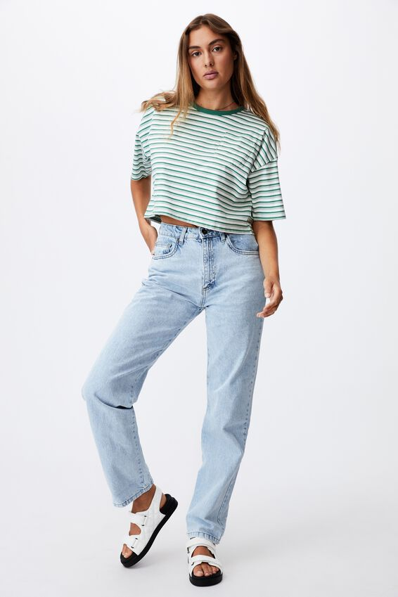 The Slouch Pocket Tee, GINNY STRIPE HERITAGE GREEN_LUSH GREEN