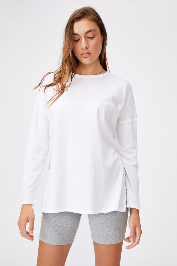 Oversized Side Split Long Sleeve Top, WHITE