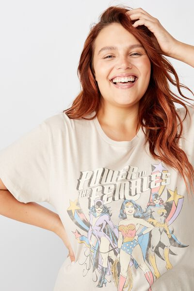 Curve Graphic License Tee, LCN WB WONDER WOMEN POWER/SILVER GREY
