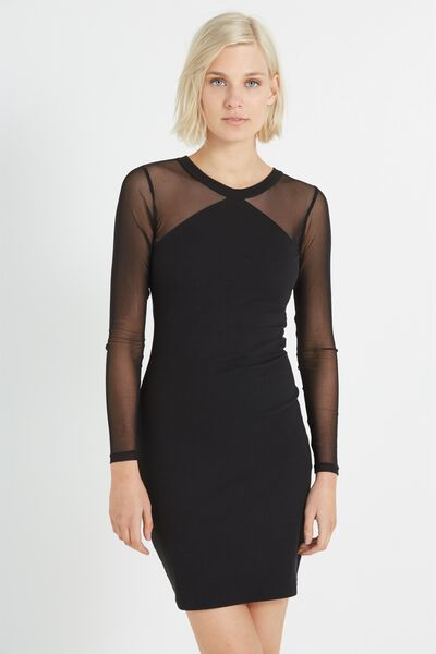 Reagan Mesh Long Sleeve Bodycon Dress, BLACK