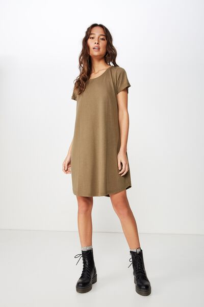 Tina Tshirt Dress 2, BURNT OLIVE