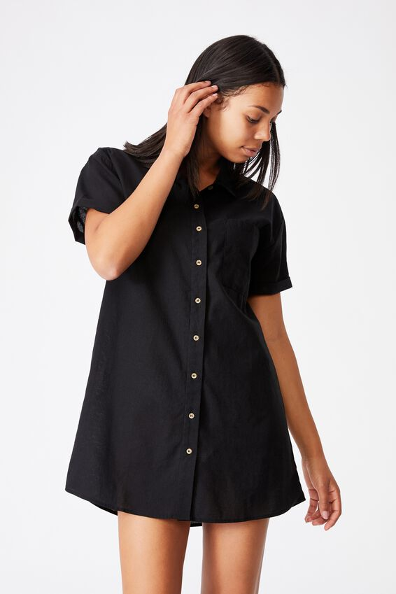 Woven Lola Button Shirt Dress, BLACK