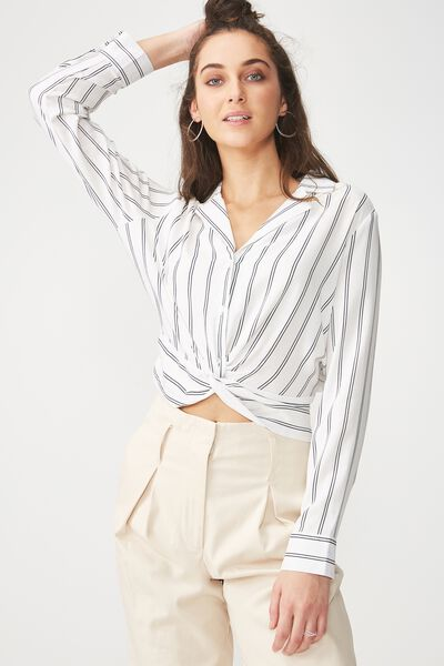 Whitney Twist Front Blouse, ALBA VERTICAL STRIPE WHITE