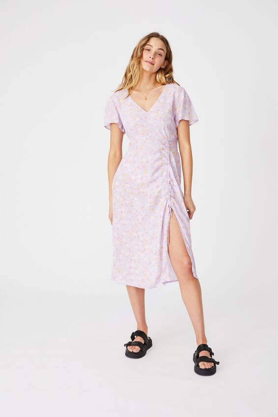 Woven Imogen Ruched Midi Dress, JORDIE FLORAL FROSTY LILAC