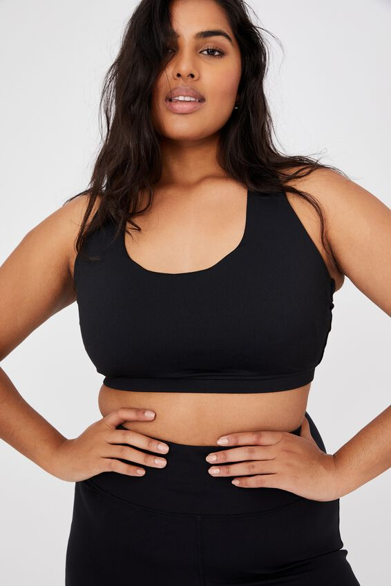 Curve Strappy Sports Crop, BLACK